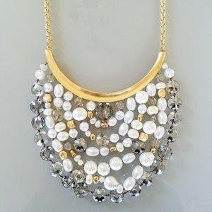 Chico's Gold Silver and White Jessica Bib Necklace